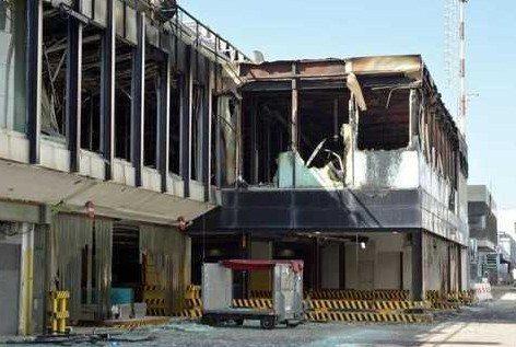 Un'immagine del Terminal bruciato (foto Messaggero)