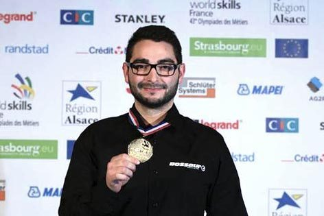 Kevin Sanchez sul podio del vincitore (foto Airbus)