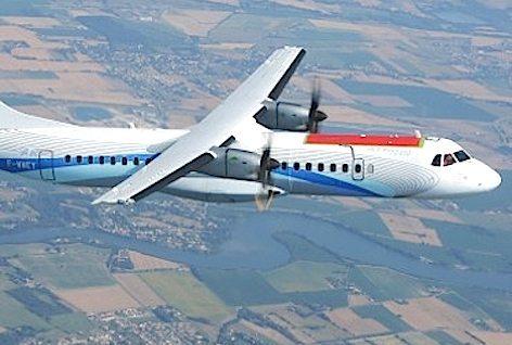 """L'ATR 72 """"Clean Sky"""" ripreso in volo (foto Alenia Aermacchi - Gruppo Finmeccanica)"""