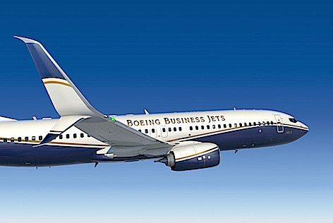 In primo piano una Split Scimitar Winglets standard sui nuovi aerei BBJ (foto Boeing)