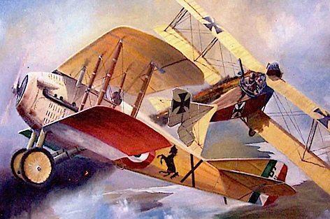 Baracca duello aereo dipinto