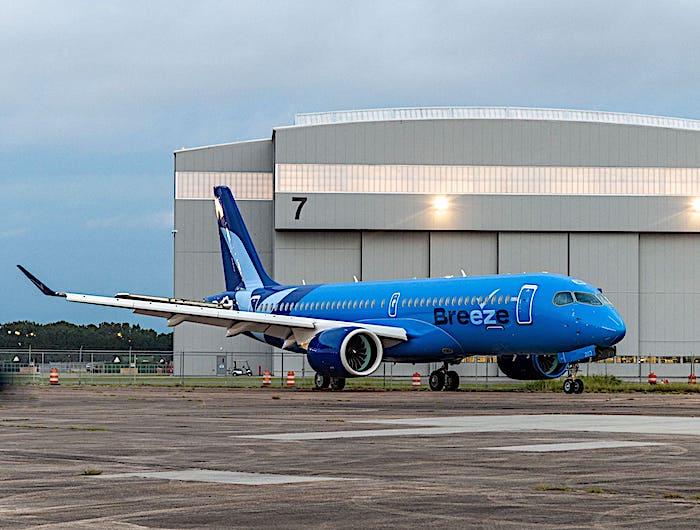 Breeze Airways: nuova livrea dell'A220 e confermato l'ordine per altri 20 Airbus A220-300