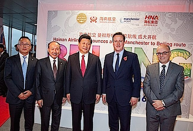 Hainan Airlines to launch Beijing-Manchester route in June, 2016. Chinese President Xi Jinping, British Prime Minister David Cameron and HNA Group chairman Chen Feng attended the press conference. (PRNewsFoto/Hainan Airlines Co., LTD)