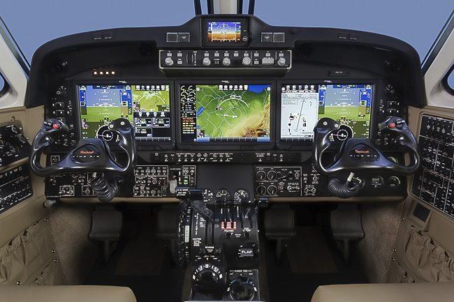 Beechcraft King Air 350 cockpit dottao di  Rockwell Collins Pro Line Fusion integrated flight deck (foto Beechcraft Textron)