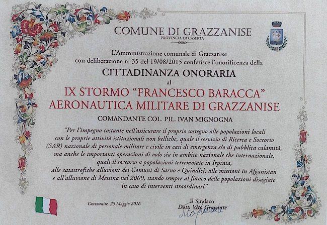 La pergamena del conferimento della cittadinanza onoraria