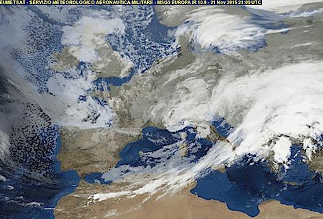 Immagine Meteosat Aeronautica Militare di oggi 21 novembre 2015 h. 21:00 UTC
