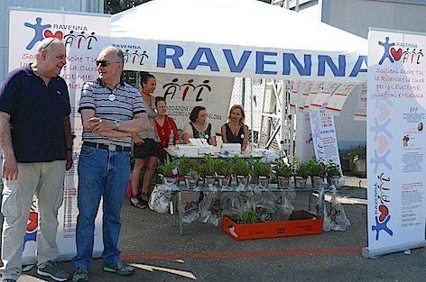 Lo stand dell'A.I.L. In primo piano il dott. Alfonso Zaccaria vice presidente AIL di Ravenna (foto Baldi)