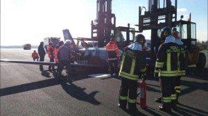 L'incidente al Piper a Linate (foto ANSA)