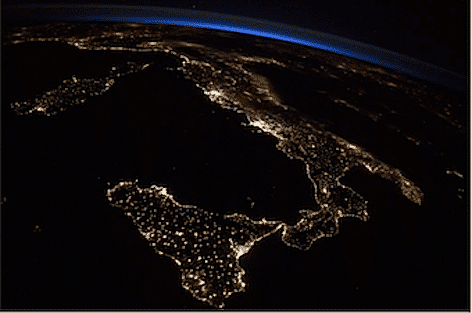L?Italia vista dallo spazio (foto ASI)