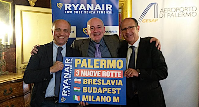 ryabair nuovi voli a Palermo
